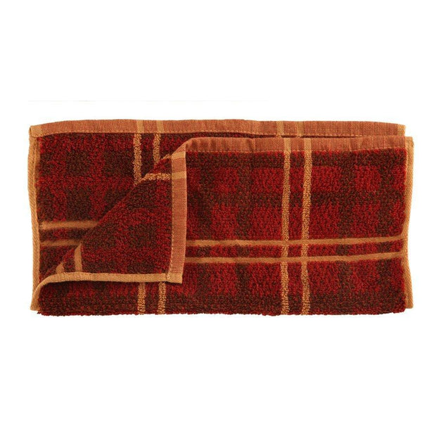 "Plaid Wash Cloth, Red, Tan & Brown, 12"" x 12"""