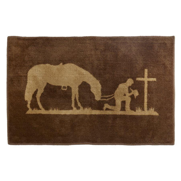 Praying Cowboy Chocolate Kitchen/Bath Accent Rug