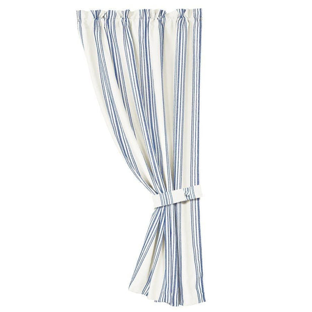 Prescott Navy Stripe Single Panel Curtain w/ Tieback
