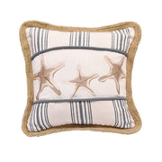Prescott Starfish Cotton Throw Pillow, Navy Stripe