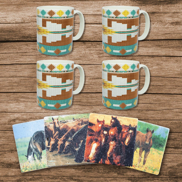 Pueblo Aztec Southwestern Mug and Horse Western Coaster 8 PC Set