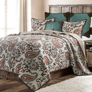 Rebecca 3-PC Paisley Quilt Set, Chocolate & Turquoise