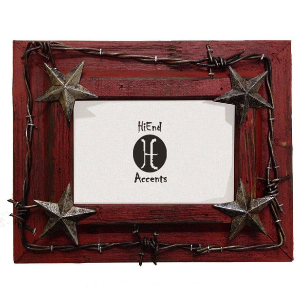 Red Painted Wooden Picture Frame w/ Barbwire & Stars (4x6/8x10)