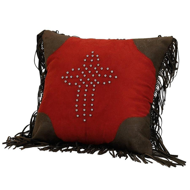 Red Studded Cross Pillow w/ Fringe, Faux Suede