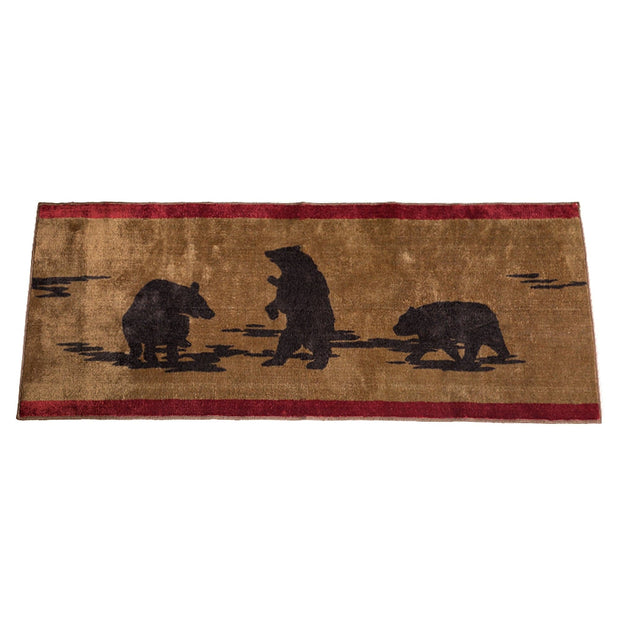 Red & Tan Bear Print Kitchen/Bath Area Rug