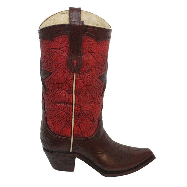 Red w/ Star Design Cowboy Boot Vase