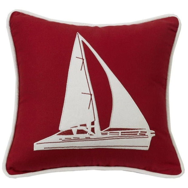 Red & White Sailboat Accent Throw Pillow