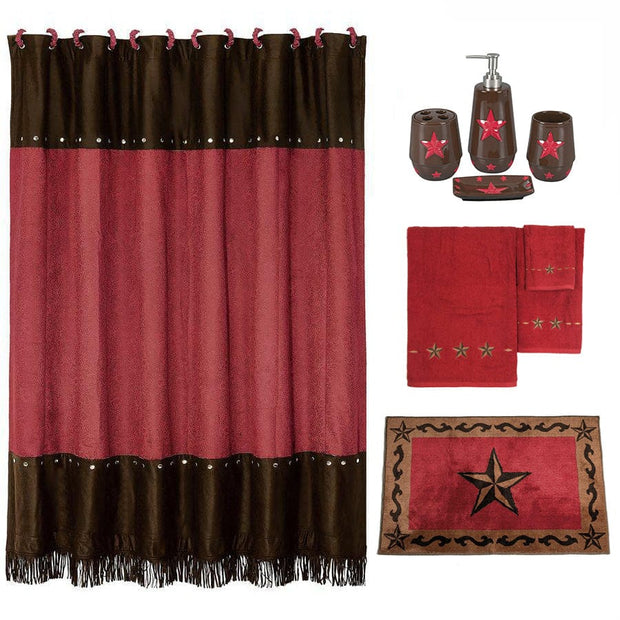 Red Star 9 PC Bath Accessary and Towel Set