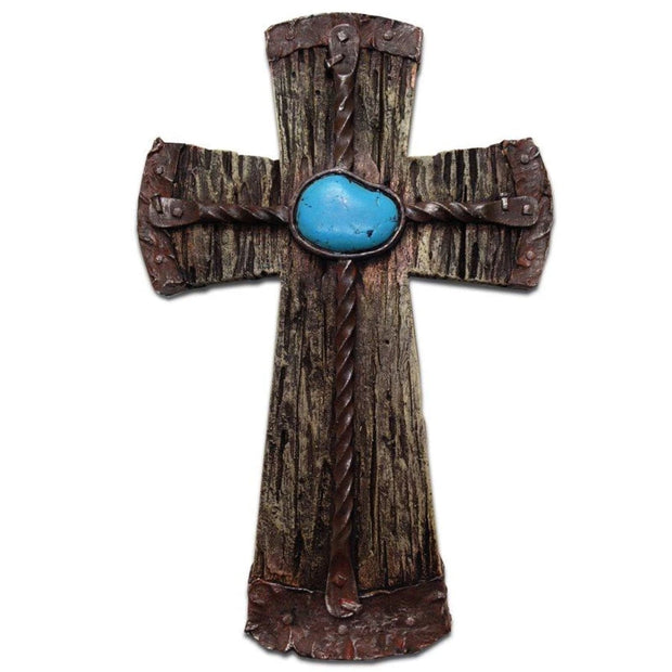 Resin Cross w/ Rebar & Turquoise Stone