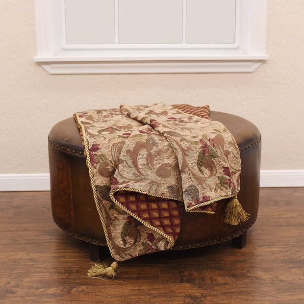 Reversible Paisley Chenille Throw Blanket, 50x60