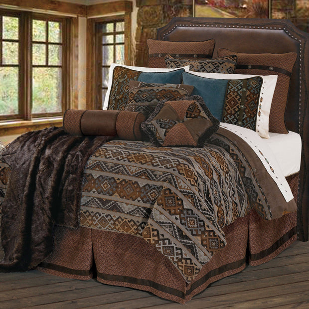 Rio Grande 7-PC Duvet Cover Set (Blue/Brown)