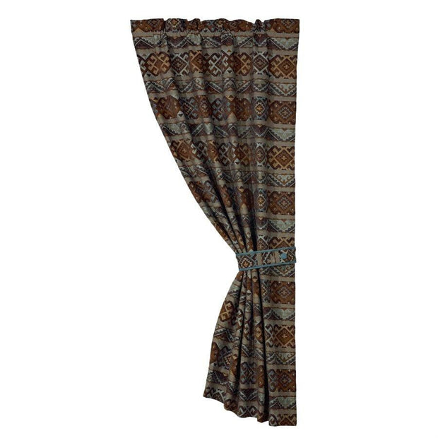 Rio Grande Blue & Brown Single Panel Curtain