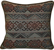 Rio Grande Blue/Brown/Copper Reversible Euro Sham w/ Fringe