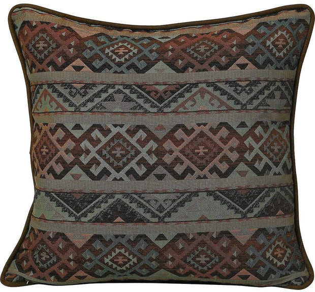 Del Rio Blue/Brown/Copper Reversible Euro Sham w/ Fringe