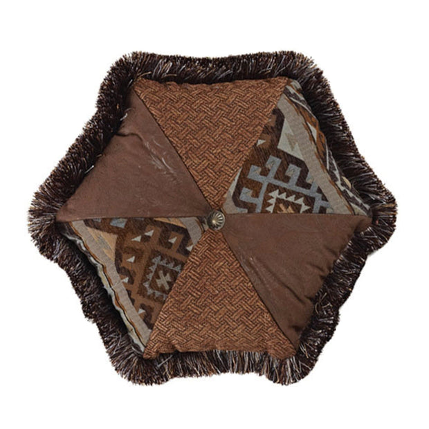 Rio Grande Hexagon Pillow, Blue & Brown, 17x17