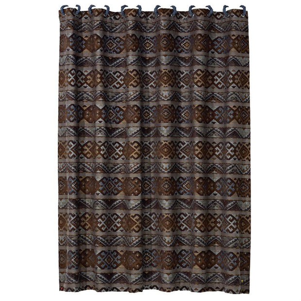 Rio Grande Southwestern Shower Curtain, Blue & Brown
