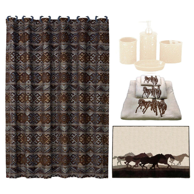 Cream Savannah  9 PC Bath Accessary and Stampede Towel Set