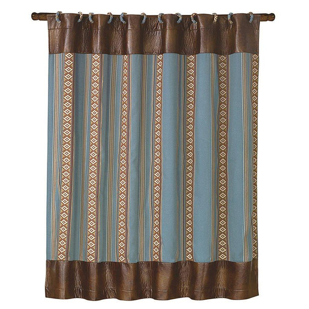 Ruidoso Aztec Stripe Shower Curtain, Turquoise
