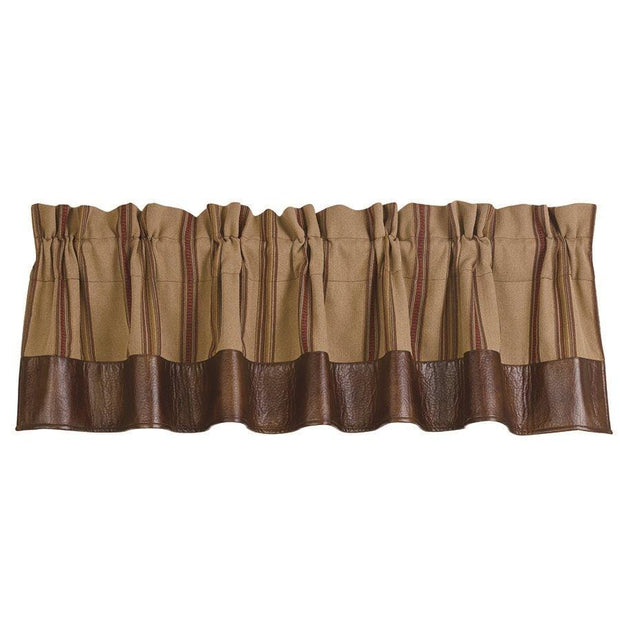 Ruidoso Leather Brown Stripe Kitchen Valance