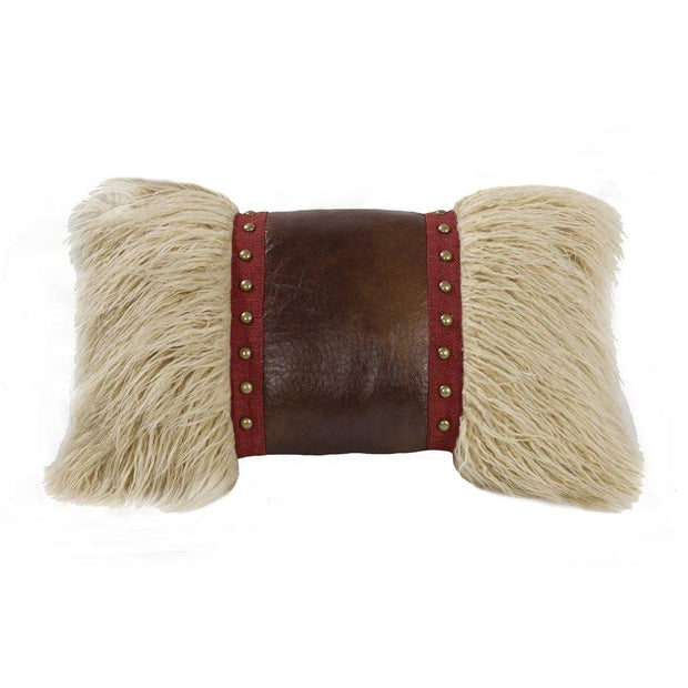 Ruidoso Mongolian Fur Accent Pillow, Studded Leather