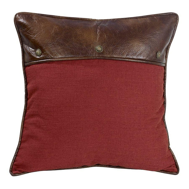 Ruidoso Red Euro Pillow Sham w/ Leather & Concho