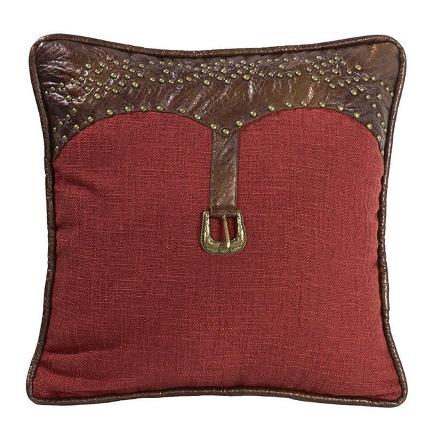 Ruidoso Red Linen Western Accent Pillow, Studded Leather