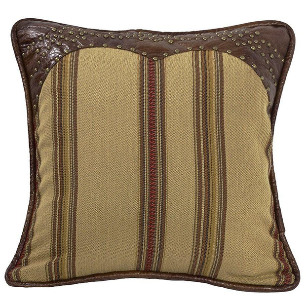 Ruidoso Tan Striped Pillow w/ Leather Trim & Studs