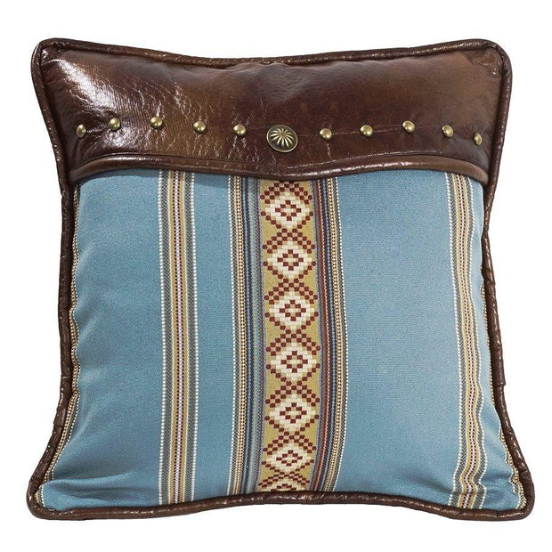 Ruidoso Turquoise Diamond Throw Pillow, Studded Leather