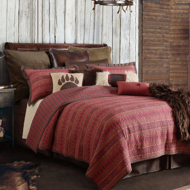 Rushmore 3-PC Quilt Set, Red & Chocolate