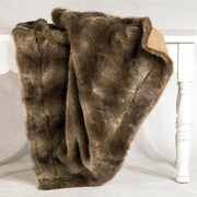 Faux Wolf Fur Throw Blanket, 50x60