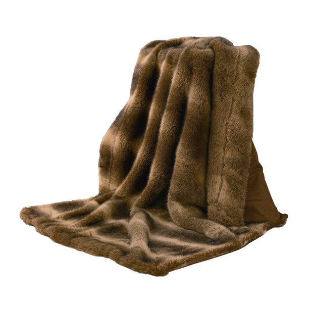 Faux Wolf Fur Throw Blanket