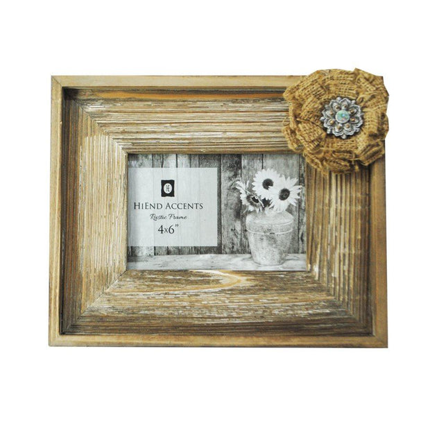 Patina Wooden Picture Frame w/ Burlap Bow, 4x6