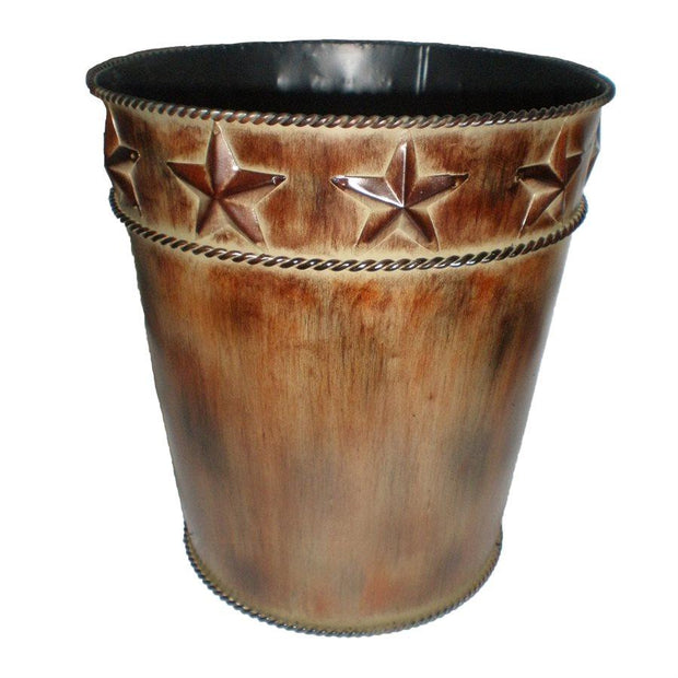 Rustic Star Brown Metal Bathroom Wastebasket