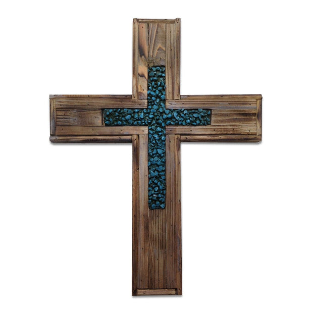 Distressed Wood & Turquoise Rock Cross Wall Decor