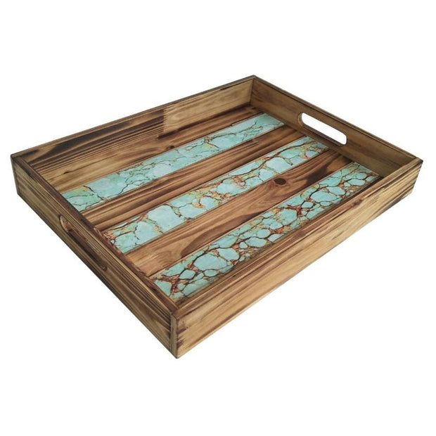 Rustic Wooden Tray w/ Turquoise Inlay