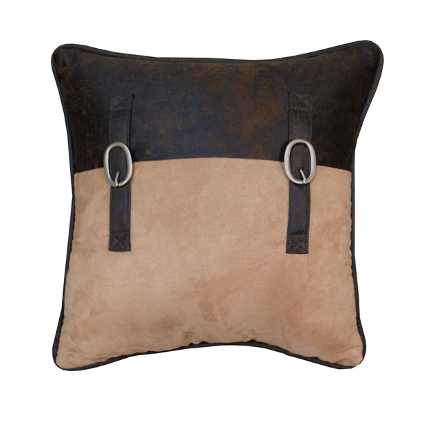 "Saddle Bag Pillow w/ Buckles, 18"" x 18"""