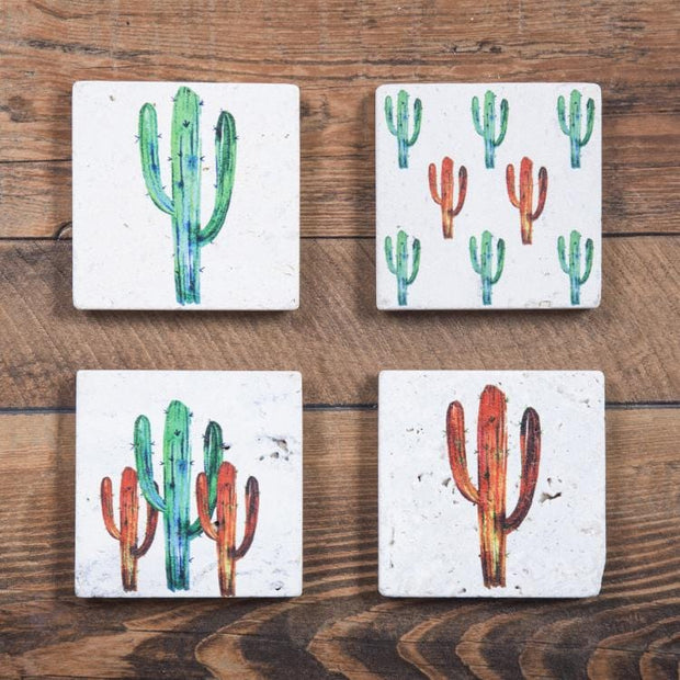 Saguaro Cactus 4-PC Coaster Set, Travertine