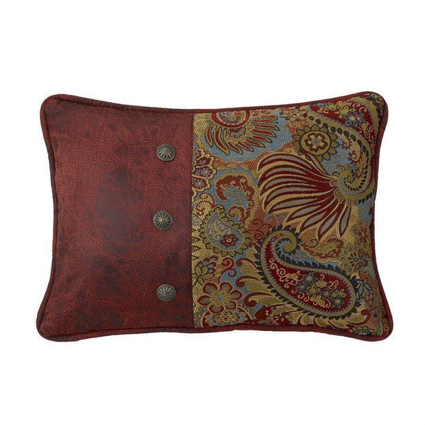 San Angelo Paisley Print Pillow w/ Red Leather & Concho