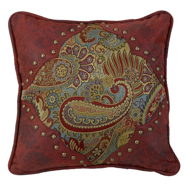 San Angelo Paisley Print Pillow w/ Red Leather Corners