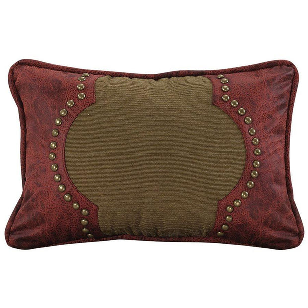 San Angelo Red Contour Lumbar Pillow, Studded Leather