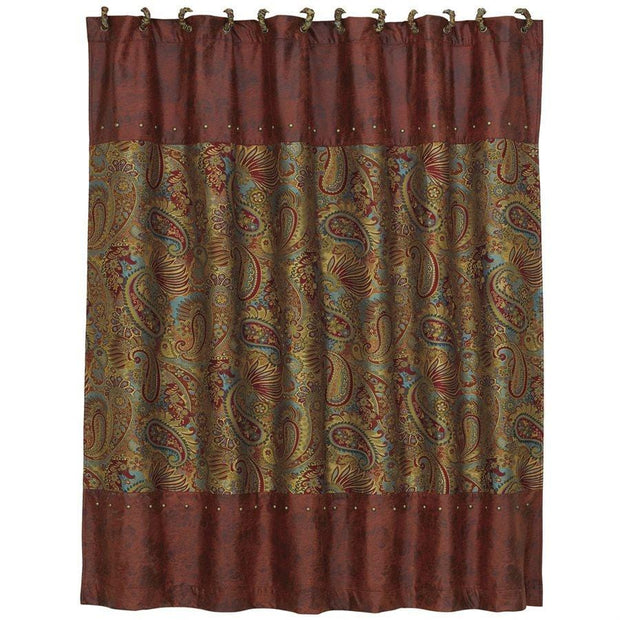San Angelo Shower Curtain, Red Paisley
