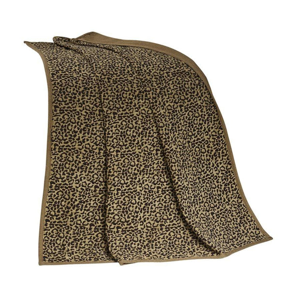 San Angelo Tan Leopard Chenille Throw Blanket