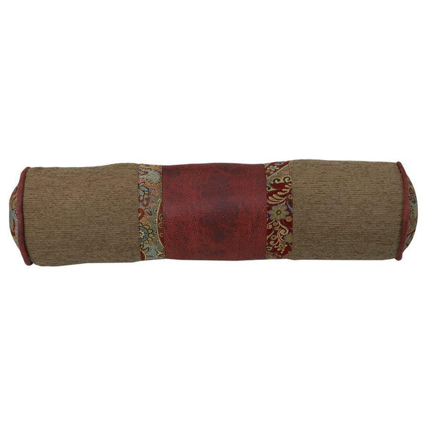 San Angelo Tan & Red Bolster Pillow w/ Paisley
