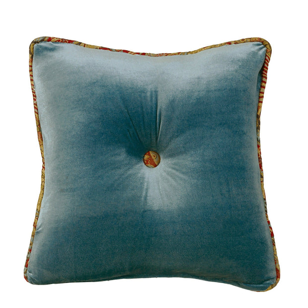 San Angelo Teal Velvet Tufted Pillow w/ Paisley