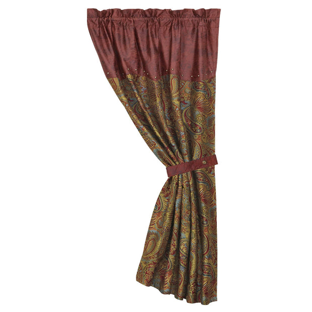 San Angelo Red Single Panel Curtain w/ Paisley