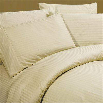 Sateen Stripe Beige Queen Sheet Set