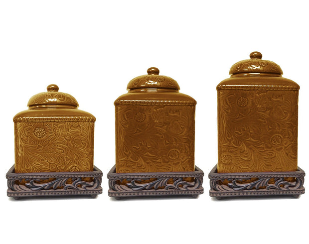 Savannah 3-PC Kitchen Canister Set, Mustard