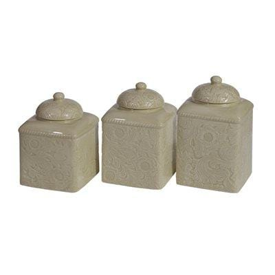 Savannah 3-PC Kitchen Canister Set, Taupe