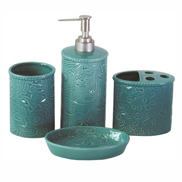 Savannah 4-PC Bath Countertop Accessory Set, Turquoise