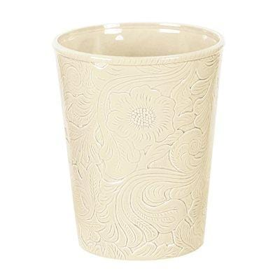 Savannah Ceramic Bathroom Wastebasket, Cream
